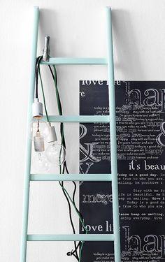 Deco ladder from Ellos. Home Interior, Interior And Exterior, Interior Design, Deco Pastel, Boho Deco, Old Ladder, Home And Living, Living Room, Interior Inspiration