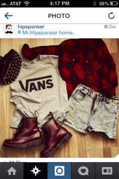 Vans shirt, denim shorts, velvet combat boots.