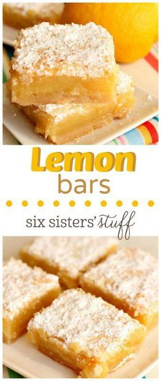 Lemon Bars on Six Sisters' Stuff | These Lemon Bars are the perfect Spring dessert.  They are bursting with lemon flavor and so easy to make!  Serve them for your family, a crowd, a baby shower or bridal shower. You can't resist the taste of this thick and chewy lemon bar!