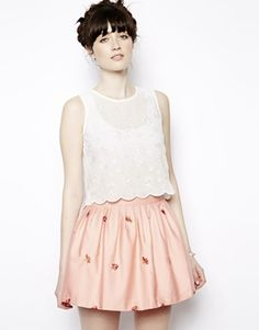 Image 1 of Nishe Embroidered Top With Scallop Hem