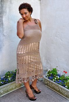 Crochet Lace Dress Bridesmaid Boho Cocktail Gown in Nude