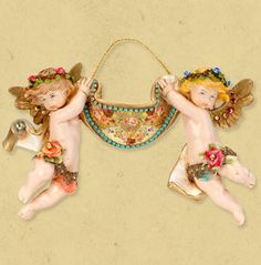 Sargas and Sariel, Decorative Michal Negrin handmade angels figurine made from fonplast. The figurine is decorated with Swarovski crystals.