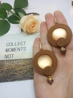 Stylish earrings for autumn! Used soutache, lunosoft (central large stone),beads, furniture. Quality Korean furniture with additional coating. Pendant Earrings, Beaded Earrings, Earrings Handmade, Beaded Jewelry, Handmade Jewelry, Gold Earrings, Diamond Jewelry, Brown Earrings, Platinum Earrings
