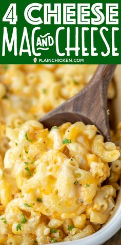 4-Cheese Mac and Cheese Recipe - so easy and it tastes AMAZING! No roux or white sauce! Simply boil the pasta and toss with butter. Add cream cheese, Velvetta, Jack and Cheddar cheese, egg, heavy cream, salt, and pepper. Can freeze for a quick side later. Add ham for a main dish! This is our family's favorite macaroni and cheese recipe! YUM! #macandcheese #pasta #macaroniandcheese #sidedish