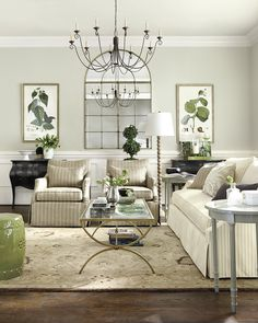 Green Accents Tie In Nicely With The Botanical Prints Living Room Decor