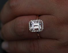 Morganite Emerald Cut Engagement Ring in 14k by Twoperidotbirds