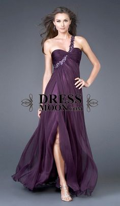A line One Shoulder Neckline Chiffon and Sequins Grape Prom Dresses