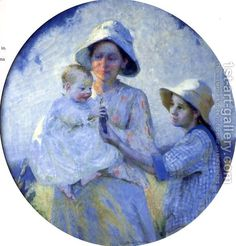 Mother and Two Children Ada Walter Shulz | Oil Painting ...