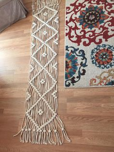 Macrame table runner with diamonds