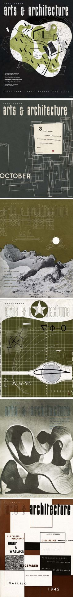 Some covers for John Entenza's ARTS & ARCHITECTURE magazine designed by Ray #Eames #graphicdesign #artsandarchitecture #midcenturymodern #moderngraphics