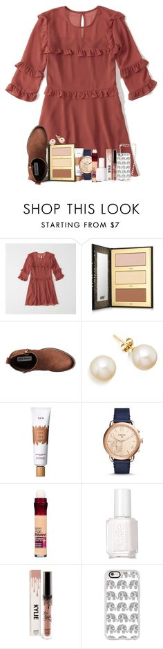 """similar to formal ootd"" by legitmaddywill ❤ liked on Polyvore featuring Abercrombie & Fitch, tarte, Steve Madden, FOSSIL, Maybelline, Essie, Casetify and The Pearl Quarter"