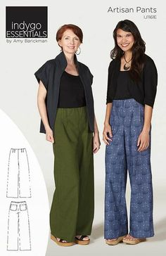 This wide-leg pant is a sophisticated elastic waist garment constructed with a choice of two rises; natural waist or mid-rise style. A two inch wide hidden elastic band gives a smooth finish without e