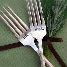 Mr. and Mrs. Vintage Silverplate Fork Set