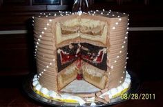 3 different pies inside a cake inside a cake YUMmmmm
