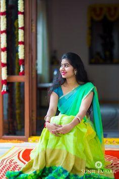 Please visit Elegant Mehndi Saree to read interesting posts. Half Saree Designs, Lehenga Designs, Saree Blouse Designs, Half Saree Lehenga, Lehnga Dress, Anarkali, Indian Gowns, Indian Outfits, Indian Sarees