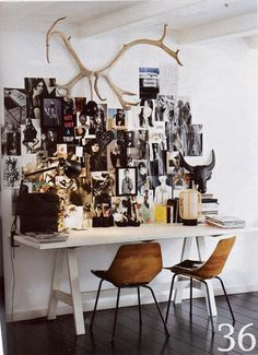 antlers and inspiration wall