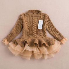 Knitted Chiffon Dress - Khaki