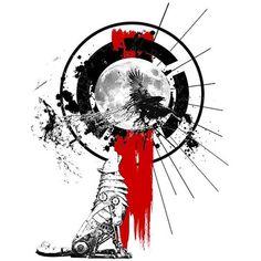 Howling Wolf Trash Polka Tattoo Design