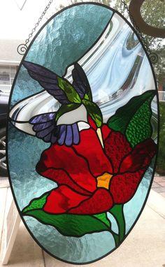Hummingbird stained glass sun catcher