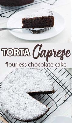 Torta Caprese Recipe (Chocolate Almond Flourless Cake) - Torta Caprese Recipe is a delicious flourless cake loaded with chocolate and almonds for an unbelievably rich decadent dessert. Low Carb Desserts, Easy Desserts, Delicious Desserts, Italian Desserts, Italian Recipes, Chocolate Almond Cake, Almond Cakes, Chocolate Art, Flourless Chocolate Cakes