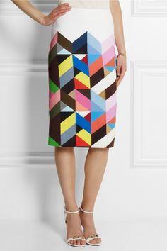 Preen by Thornton Bregazzi | Tilda printed stretch-crepe pencil skirt | NET-A-PORTER.COM