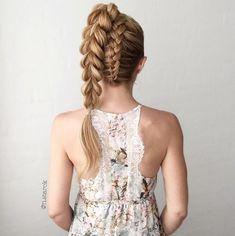 Upside down dutch braid into Pull-through braid ponytail