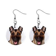 New Cute Funny Belgian Malinois Face Dog Puppy Gift Dangle Metal Earrings