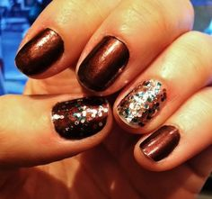 Glittery holiday party inspiration.   OPI's German-icure (the Chocolatey brown) and The Living Daylights (Teal, Silver, Rusk glitter).