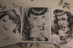 Bettie Page art prints 3-pack by PartsUnknownPosters on Etsy