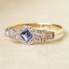 Engagement Rings One of a Kind Art Deco Sapphire & Diamond Engagement Ring, Antique Sapphire Platinum and Gold Ring, Approximate Antique Engagement Rings, Antique Rings, Antique Jewelry, Vintage Jewelry, Vintage Rings, Sapphire Diamond Engagement, Bijoux Art Nouveau, Ring Verlobung, Art Deco Jewelry