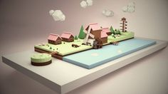 Low poly landscape with a subtle windmill animation.
