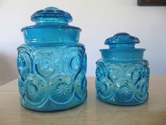 Vtg LE Smith Retro Art Glass Blue Moon & Stars 2 Jars Canisters Apothecary Set