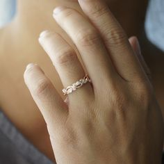 Diamond stackable ring leaf and vine eternity wedding anniversary band