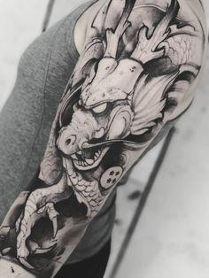 Anime Tattoos, Body Art Tattoos, Tattoos Skull, Tattoo Ink, Lion Tattoo Sleeves, Sleeve Tattoos, Dragon Ball, Zeus Tattoo, Angel Tattoo Designs