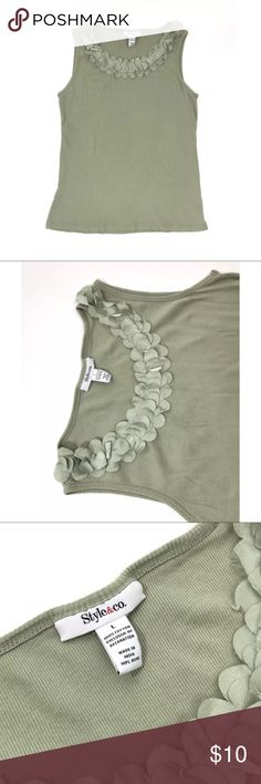 Style & co. Green Cotton Tank Top Size Large Brand- Style&co. Size- Large Color- Green 100% Cotton Machine Washable Stretchy In good condition, No tears or stains. Some fraying on appliqué around neckline.  Approximate Measurements (Taken lying flat) Bust- 38 inches (19 across, underarm to underarm) Length- 25 inches Style & Co Tops Tank Tops