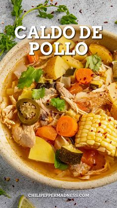 We're cooking up some chicken soup in the Chili Pepper Madness kitchen tonight, my friends. Would you care for a bowl? Only this isn't your typical chicken soup, which can be pretty bland and boring. This is the best Caldo de Pollo (Mexican Chicken Soup Recipe). #Mexicanrecipe #caldodepollo #chickenrecipe #chickensoup #delicious | chilipeppermadness.com @chilipeppermadness Healthy Weeknight Meals, Weeknight Dinners, Easy Dinners, Mexican Breakfast Recipes, Mexican Food Recipes, Pollo Recipe, Homemade Chicken Stock, Spicy Chicken Recipes, Duck Recipes