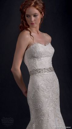 "Modern Trousseau Fall 2016 Wedding Dresses | Wedding Inspirasi | ""Sailor"" -- Exquisite, Embroidered Lace Trumpet Silhouette Wedding Gown Featuring A Strapless, Sweetheart Neckline, Fitted Bodice, Silver Embellished Belt, Embroidered Lace Skirt With Chapel Train·····"