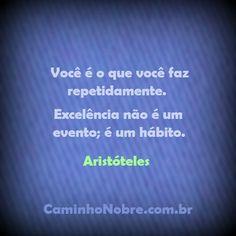 Você é o que você faz repetidamente. Excelência não é um evento; é um hábito. Aristóteles http://caminhonobre.com.br/2011/07/24/mentalizacao-otima-opcao-para-descansar-a-mente-e-sair-do-negativismo/ #filosofia #grego #aristoteles #habito