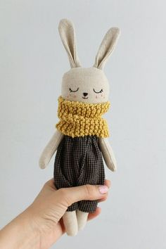 doll with dark blue checkered pants and yellow scarf., Bunny doll with dark blue checkered pants and yellow scarf., Bunny doll with dark blue checkered pants and yellow scarf. Laura Ingalls, Bunny Plush, Fabric Dolls, Rag Dolls, Handmade Toys, Softies, Doll Toys, Etsy, Baby Gifts