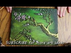 How to PAINT TREE BLOSSOMS with HOT GLUE TEXTURE