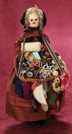 Kaleidoscope: 487 Early 19th Century English Wooden Doll as Peddler