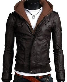handmade Men brown fabric PU hooded Leather Jacket rib bottom, men Faux leather jacket hoodie