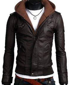 handmade Men brown fabric PU hooded Leather Jacket rib bottom, men Faux leather jacket hoodie