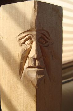 "This is a 2"" X 2"" piece of basswood. An easy way to learn how to carve faces is to use the corners of the block of wood."