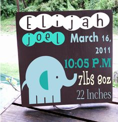 """11x11 Wooden """"Tile"""" Birth Announcement Sign 100% personalized Perfect for Little Boys Room. $25.00, via Etsy."""