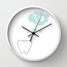 Tooth with Happy Thoughts Wall Clock by Dental Chic - $30.00 Dental Hygienist / Dental Assistant / Dentist RDH