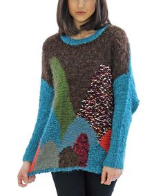 Teal & Brown Patchwork Sweater by funsport