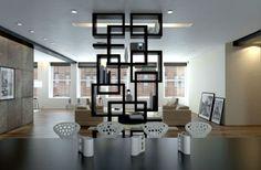 Modern, kicsit robosztus térelválasztó megoldás. Fotó: pinterest.com