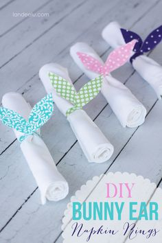 DIY Bunny Ears Napkin Rings |  Easy fabric bunny ear napkin rings to add a cute Easter touch to your table!