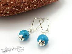 Simple Turquoise tribal dangle earrings, Hippie Earrings, African Earring, African Jewellery, Funky Earrings